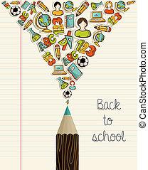 escola, educação, pencil., costas, ícones