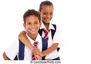 escola elementar, amigos, dois, feliz