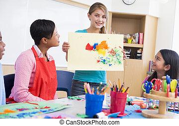 escola elementar, arte, pupila, classe