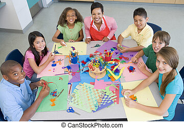 escola elementar, classe arte