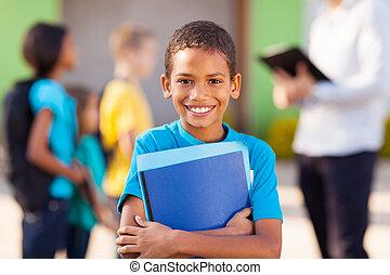 escola elementar, estudante masculino, africano