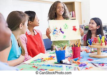 escola elementar, pupila, em, classe arte
