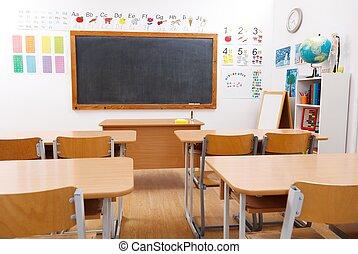 escola elementar, sala, vazio, classe