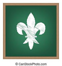 escola, elementos, efeito, giz, verde, board., branca, design.