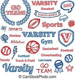 escola, elementos, hand-drawn, esportes