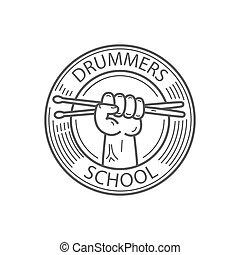 escola, emblema, bateristas