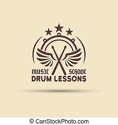 escola, emblema, drumsticks, asas, vetorial, tambor