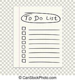 escola, escritório, negócio, text., lista, isolado, mão, papel, realístico, caderno, fundo, note., papelaria, desenhado, diary., ícone