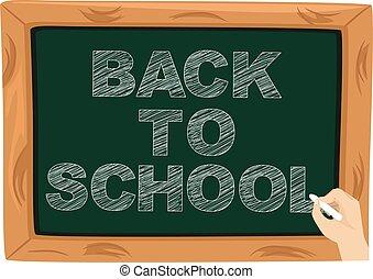 escola, escrita, chalkboard, costas