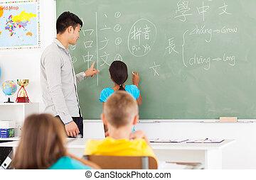 escola, escrita, elementar, tábua, estudante, resposta