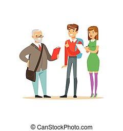escola, estudantes, discussão, ilustração, professor, alto, seu, vetorial, educação, tendo