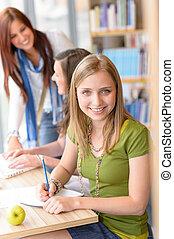 escola, estudar, jovem, biblioteca, alto, menina