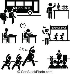 escola, evento, estudante, atividade