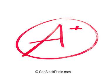 escola, exame, grau, um+, excelente, (plus)