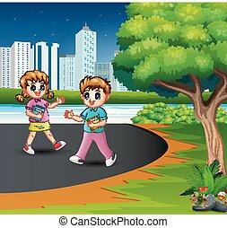 escola, feliz, andar, estrada, crianças