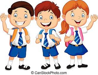 escola, feliz, crianças, caricatura