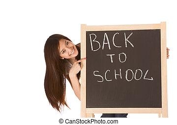 escola, femininas, quadro-negro, costas, asiático, estudante