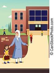 escola, filha, dela, muçulmano, ilustração, mãe