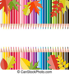 escola, folhas, costas, vetorial, pencils., fundo, illust