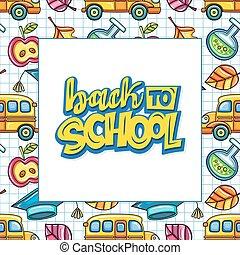 escola, frame., série, costas, educação, bandeira, ou