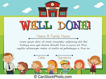 escola, fundo, certificado, crianças