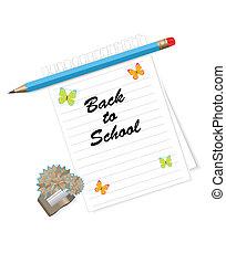 escola, fundo, costas
