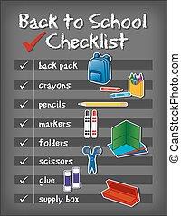 escola, fundo, costas, lista de verificação, chalkboard