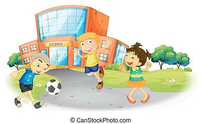 escola, futebol, tocando, crianças