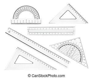 escola, geometria, régua, plástico, educação, matemática