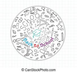 escola, global, costas, ícones