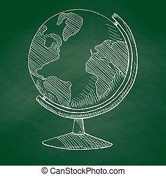escola, globo, esboço, ilustração, mão, vetorial, verde, board., desenhado, style.