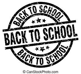 escola, grunge, selo, costas, pretas, redondo