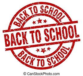 escola, grunge, selo, costas, redondo, vermelho