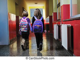 escola, grupo, crianças, feliz