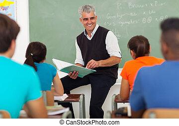 escola, grupo, estudantes, alto, ensinando, sênior, professor