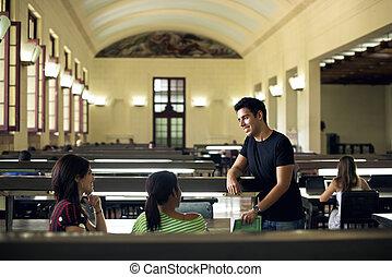 escola, grupo, estudantes, estudar, biblioteca, amigos, feliz