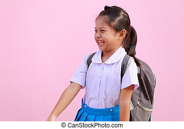 escola, happily., meninas, uniforme, asiático, sorrindo