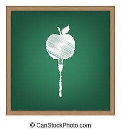 escola, illustration., alimento, vegetariano, efeito, sinal, giz, verde, board., branca