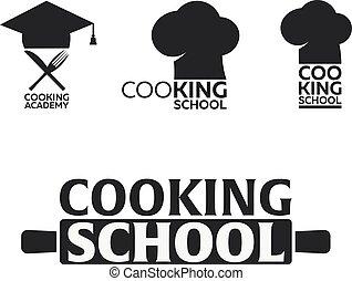 escola, illustration., cozinhar, academy., vetorial, logo.