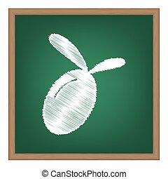 escola, illustration., efeito, sinal, giz, azeitona, verde, board., branca