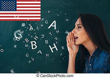 escola, inglês, lição, ourse, de, estudar, um, estrangeiro,...