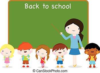 escola, ir, tábua, crianças