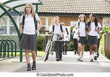 escola júnior, crianças, partindo, escola
