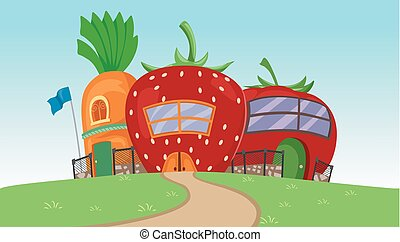 escola, jardim, ilustração
