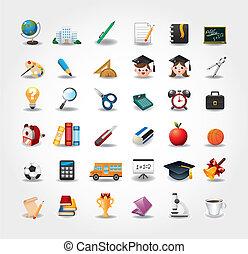 escola, jogo, botão, ícones