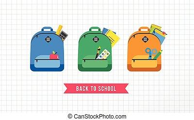 escola, jogo, coloridos, mochila, costas, icons., conceito, estudante, saco
