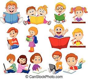 escola, jogo, computador, cobrança, caricatura, livro, operando, leitura, crianças
