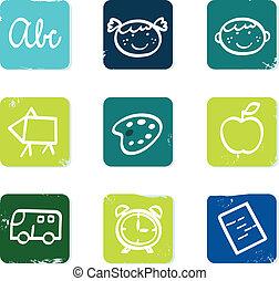 escola, jogo, &, doodle, ícones, costas, isolado, elementos, branca