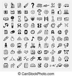 escola, jogo, doodle, costas, 100, hand-draw, ícone