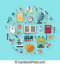 escola, jogo, educação, fundo, ícones